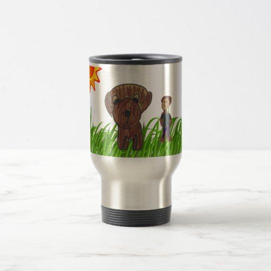 Boy and Dog Drawing Travel Mug