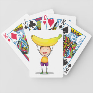 boy and excercise bicycle playing cards