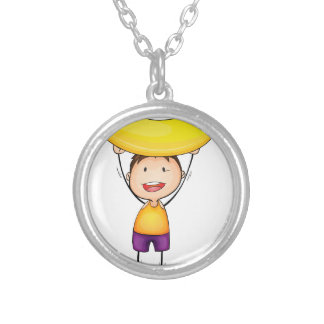 boy and excercise round pendant necklace