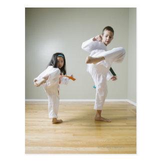 Boy and girl (4-9) practising Taekwondo kicks Postcard