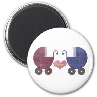 Boy and Girl Baby Twins, Pram Art Design 6 Cm Round Magnet