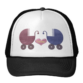 Boy and Girl Baby Twins, Pram Art Design Cap