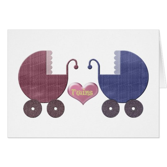 Boy and Girl Baby Twins, Pram Art Design