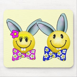 Boy and Girl Bunny Smiley Face Mousepad