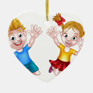 Boy and Girl Jumping Cartoon Ceramic Heart Decoration