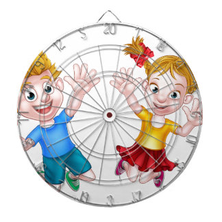 Boy and Girl Jumping Cartoon Dartboards