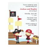 Boy and Girl Pirate Invitations Invitations