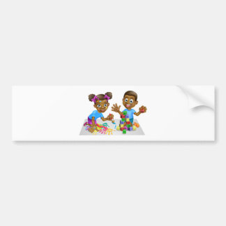 Boy and Girl Playing with Blocks and Paint Bumper Sticker