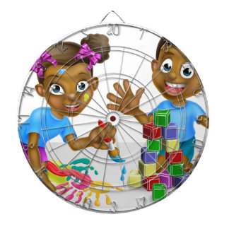 Boy and Girl Playing with Blocks and Paint Dartboard With Darts