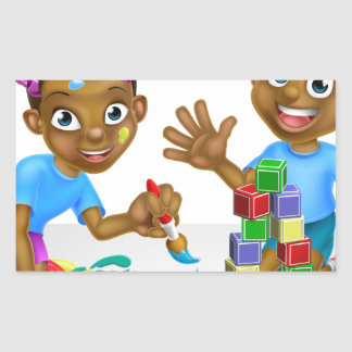 Boy and Girl Playing with Blocks and Paint Rectangular Sticker