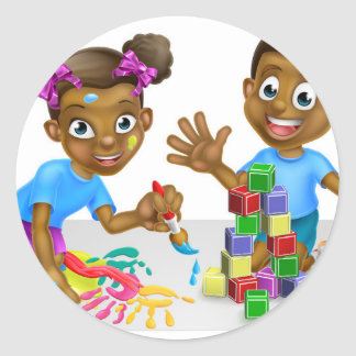 Boy and Girl Playing with Blocks and Paint Round Sticker
