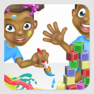 Boy and Girl Playing with Blocks and Paint Square Sticker