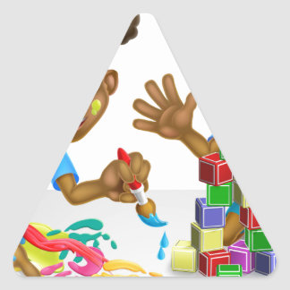 Boy and Girl Playing with Blocks and Paint Triangle Sticker