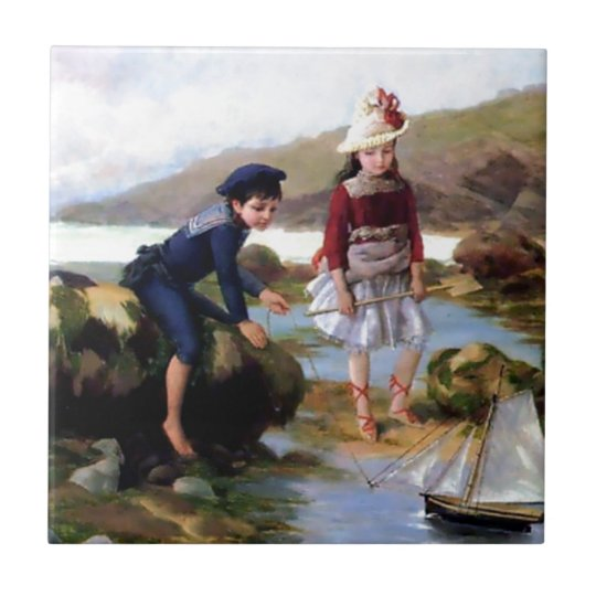 Boy and Girl playing with Toy Sail Ship painting Small Square Tile