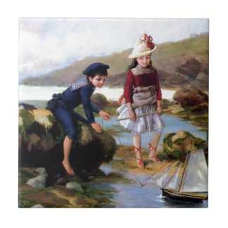 Boy and Girl playing with Toy Sail Ship painting Tile