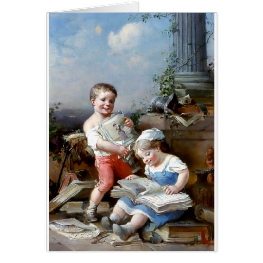 Boy and Girl Reading books painting Card