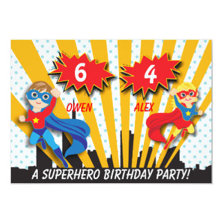Boy and Girl Superhero Birthday Card
