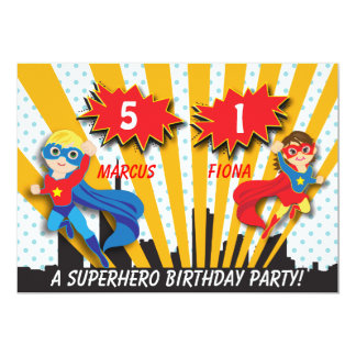 Boy and Girl Superhero Birthday Card