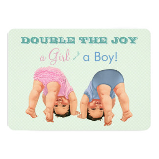 Boy and Girl Twin Baby Shower Card