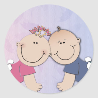 Boy and Girl Twin Theme Design Classic Round Sticker