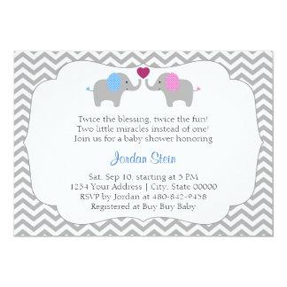 Boy and Girl Twins Baby Shower 13 Cm X 18 Cm Invitation Card