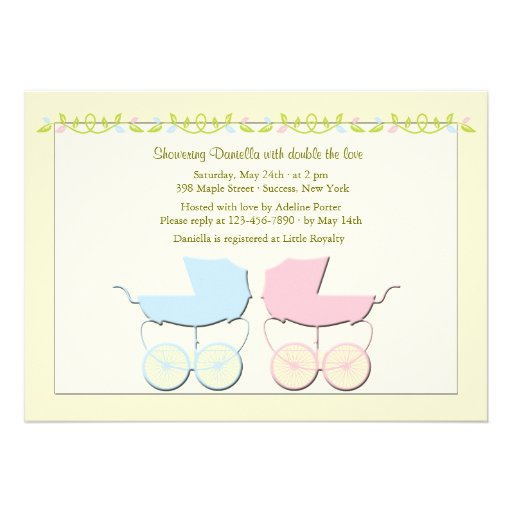Boy and Girl Twins Baby Shower Invitation