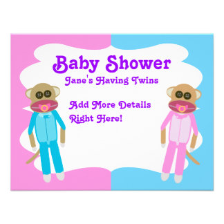Boy and Girl Twins Blank Invite