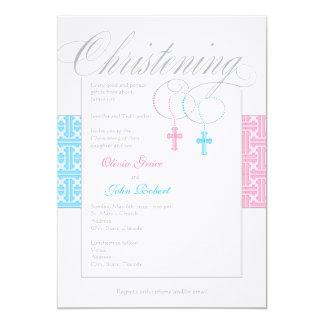 Boy and Girl Twins Christening Invitation