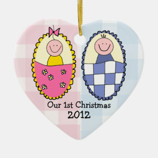 Boy and Girl Twins First Christmas Blue Pink Ceramic Heart Decoration