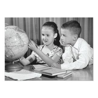 Boy and Girl Viewing Globe 13 Cm X 18 Cm Invitation Card