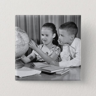 Boy and Girl Viewing Globe 15 Cm Square Badge