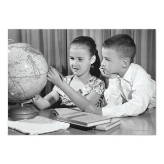 Boy and Girl Viewing Globe Card