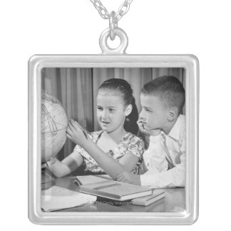 Boy and Girl Viewing Globe Silver Plated Necklace