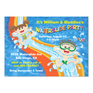 Boy and Girl Waterslide Pool Party Birthday Invite