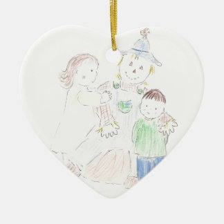 Boy and Girl with Scarecrow Christmas Ornament
