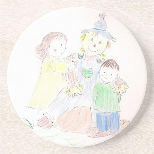 Boy and Girl with Scarecrow Beverage Coasters