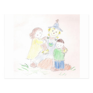 Boy and Girl with Scarecrow Postcards