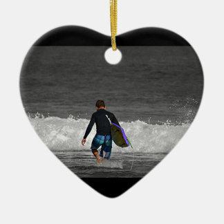 BOY AND HIS BOOGIE BOARD CERAMIC HEART DECORATION