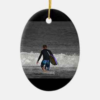 BOY AND HIS BOOGIE BOARD CERAMIC OVAL DECORATION