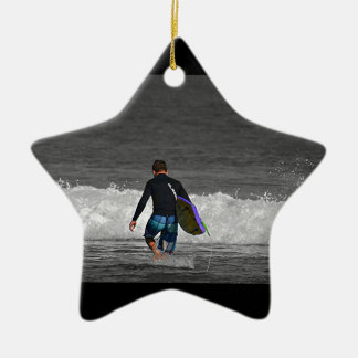 BOY AND HIS BOOGIE BOARD Double-Sided STAR CERAMIC CHRISTMAS ORNAMENT