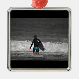 BOY AND HIS BOOGIE BOARD SQUARE METAL CHRISTMAS ORNAMENT