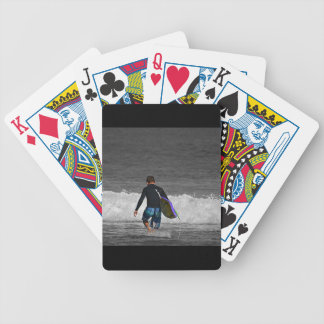 boy and his boogie board bicycle playing cards