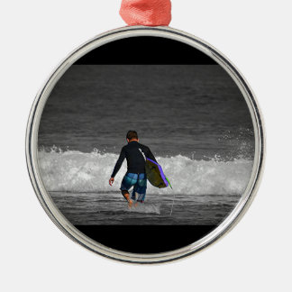 BOY AND HIS BOOGIE BOARD Silver-Colored ROUND DECORATION
