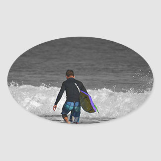 BOY AND HIS BOOGIE BOARD OVAL STICKERS