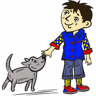Boy And His Dog Standing Photo Sculpture