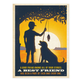 Boy and His Dog Postcard