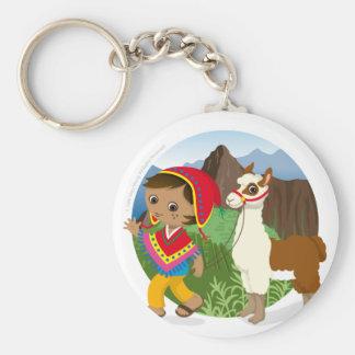 Boy and his llama key ring