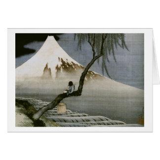 Boy and Mount Fuji Hokusai Japanese Fine Art Card