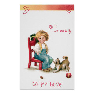 Boy and Puppy Vintage Valentine Poster
