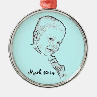 Boy and Teddy (Mark 10:14) Christmas Tree Ornament